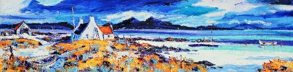 Jean Feeney_Boats on the Rocky Shore, Ardnamurchan_5.25x22