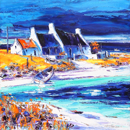 Jean Feeney_Sunlit Cottages, Tiree_17x17