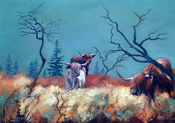 Lesley McLaren_Highland Cattle on Moorland_6.25x9