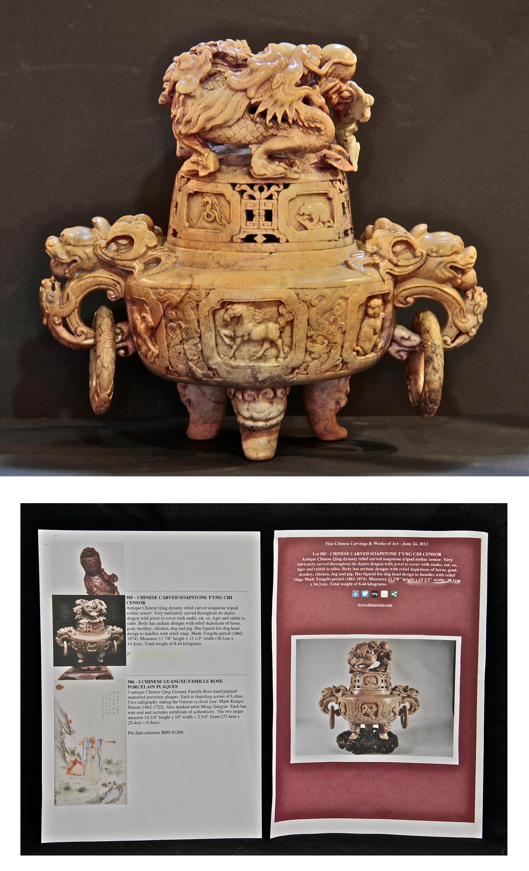 Antique Chinese Carved Soapstone Censor - EAS Art Gallery ...