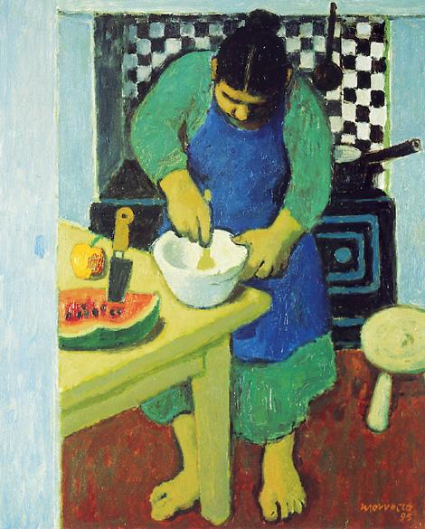 Alberto Morroco_Woman Crushing Garlic_12x10