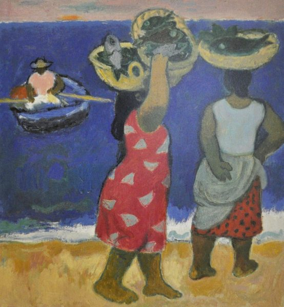 Alberto Morroco_Woman with fish baskets_10.5x9.5