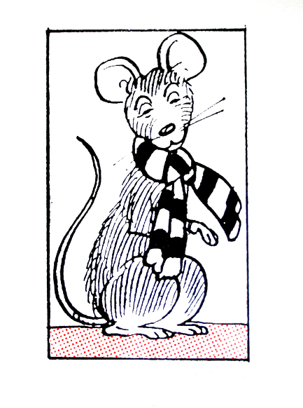 John Patrick Reynolds_Comic Art_Oor Wullie's pet mouse Jeemy (in a scarf)