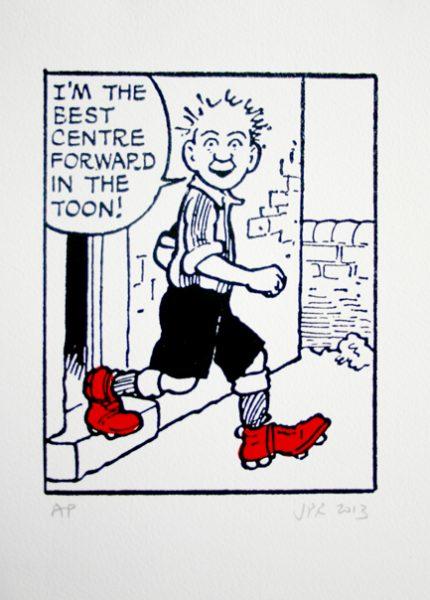 John Patrick Reynolds_Comic Art_Oor Wullie in his football boots