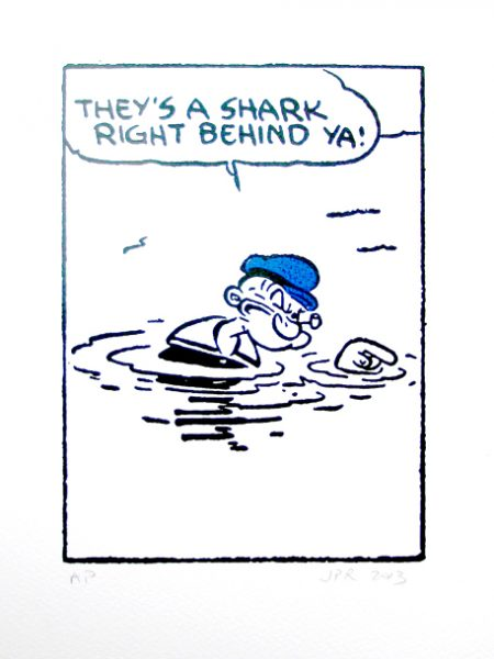 John Patrick Reynolds_Comic Art_Popeye's shark warning
