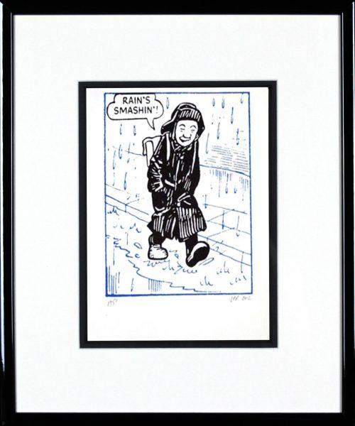 John Patrick Reynolds_Oor Wullie Rains Smashin_15x13_Framed