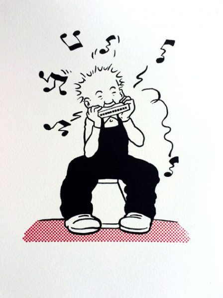 John Patrick Reynolds_Comic Art_Oor Wullie Plays His Mouth Organ