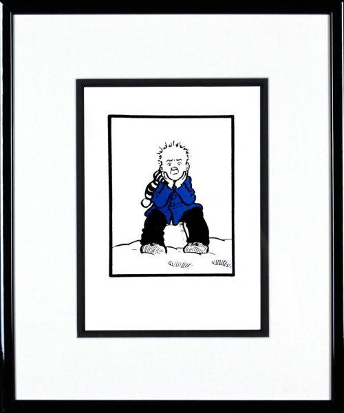 John Patrick Reynolds_Oor Wullie on a Snowy Bucket_15x13_Framed