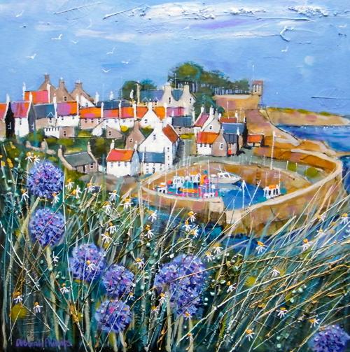 Deborah Phillips_Clifftop Allium, Crail_Hand Embellished Signed Limited Edition_15x15