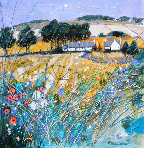 Deborah Phillips_Farmstead Fieldedge near Forfar_Hand Embellished Signed Limited Edition_15x15