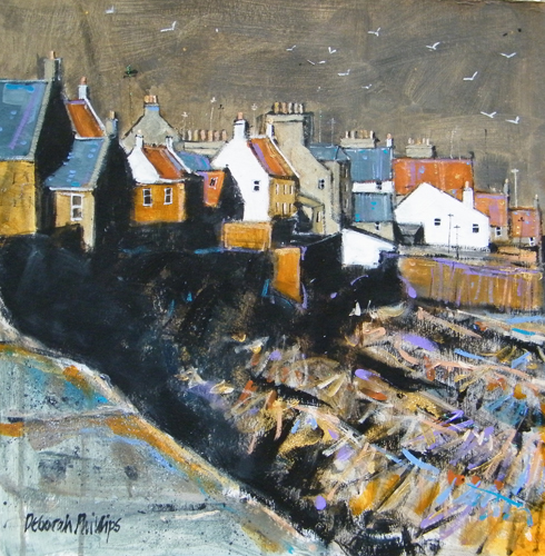 Deborah Phillips_Spring Evening Sun Anstruther_Hand Embellished Signed Limited Edition_5x5