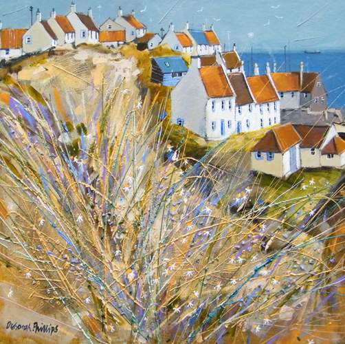 Deborah Phillips_Winter Sunlight St. Monans_Hand Embellished Signed Limited Edition_5x5