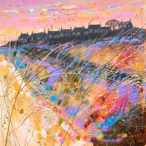 Deborah Phillips_Winter Sunset Ballyhornan Beach_Hand Embellished Signed Limited Edition_15x15