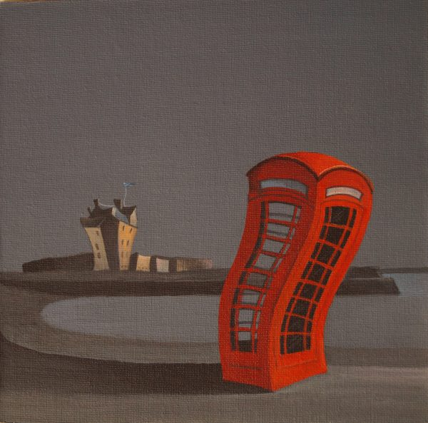 Gail Stirling Robertson_Broughty Ferry Castle and Phone Box_SLE_6x6