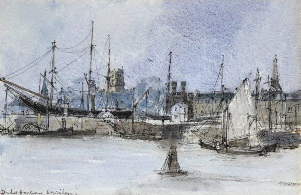 Andrew Neilson_Dundee Harbour II c 1960-70_Watercolour with Pen_9.5x14.25