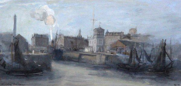 Andrew Neilson_Dundee Harbour III 1969_Gouache_6.25x13