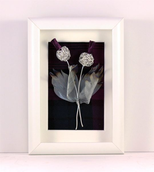 Handmade Wire Thistle Framed White _6.5x 4.5 x 1.5_65