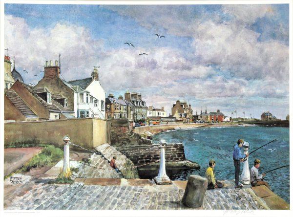 James McIntosh Patrick_Beach Crescent I (Boys Fishing)_Signed Limited Edition Print_17x23