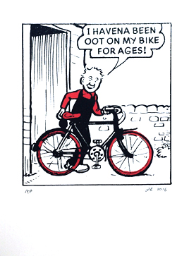 Oor Wullie with his Bike