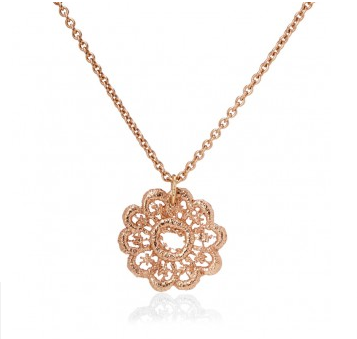 I love a lassie_Lace Doily Necklace_ Rose gold