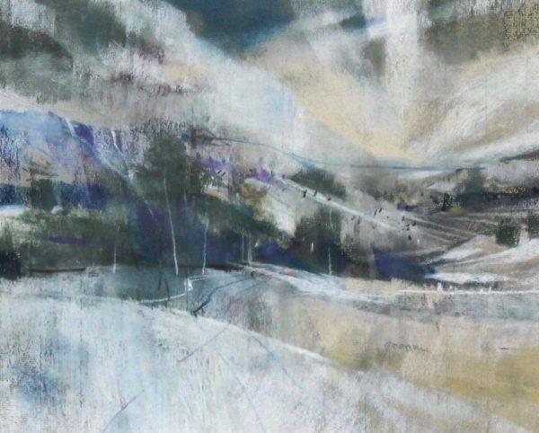 Oscar Goodall RSW_Original Pastels_ Snow and Sky_Image 10.25x12.75