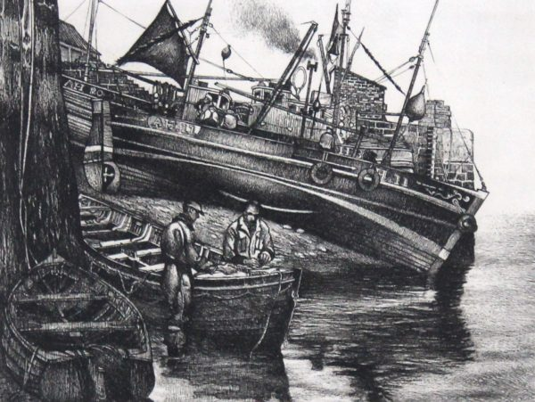 William Peters Vannet_ Etching_ High and Dry, Arbroath (Exh. RA & RSA 1964)_ Image 8x11