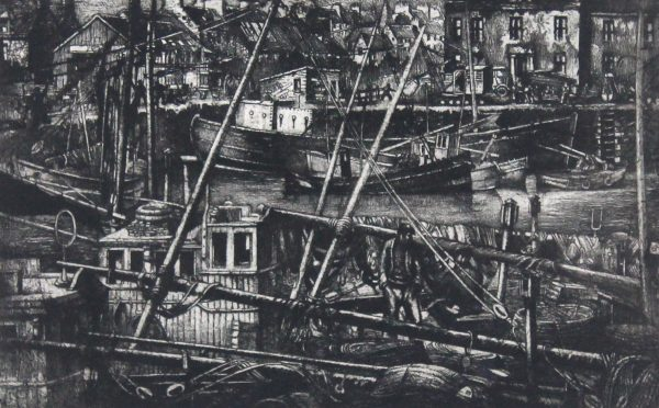 William Peters Vannet_ Etching_ MAsts and Spars, Arbroath (Exh. RSA & RA 1956)_ Image 9.5x14.5