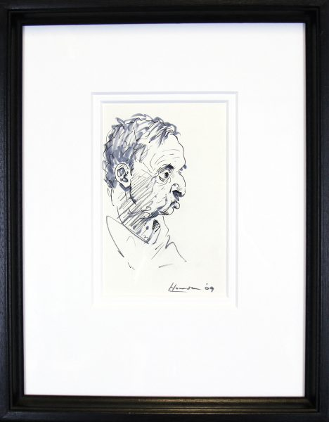 Peter Howson_Original_ Mixed Media_Map Club III_Framed 14x18