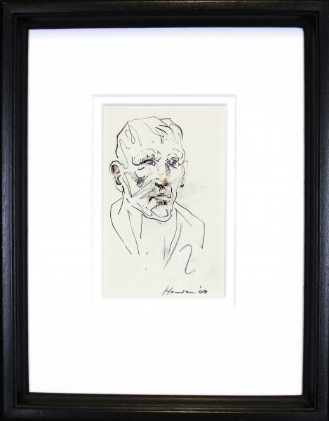 Peter Howson_Original_ Mixed Media_Map Club_Framed 14x18