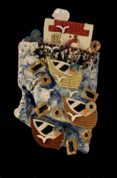 Donald McIntyre_Original Stoneware_East Neuk Plaque  Brown Boats_8.5x5_60