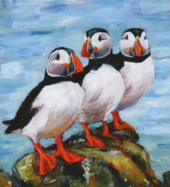 Gina Wright_SIgned Limited Edition Print_Puffin Trio_image 8x7