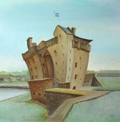 Gail Stirling Robertson_Original_Acrylics_Cool Blue Broughty Castle_image 7x 7_price 270 _sm