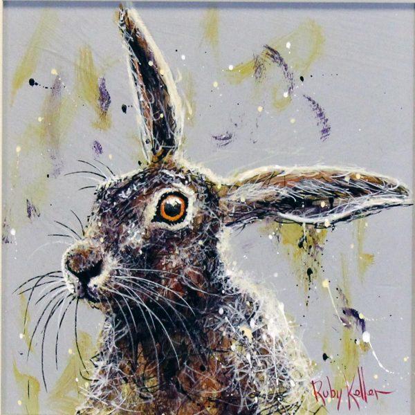 Ruby Keller_Original_Acrylics_Hare I_ img 10x10