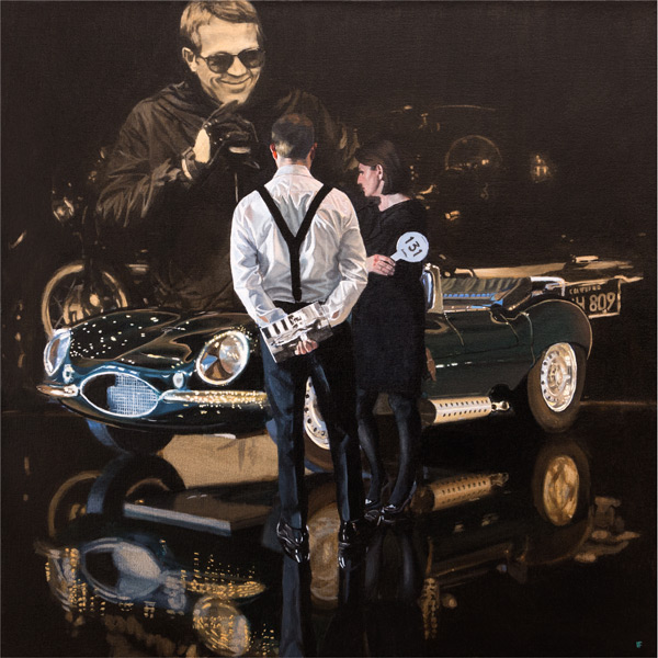 Iain Faulkner_Car Auction, Jaguar XKSS_Signed Limited Edition_20x20_33x33