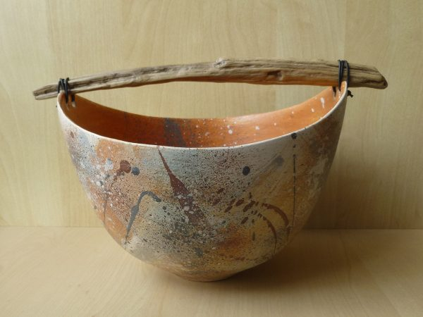 Anne Morrison_Large coloured bowl with wood