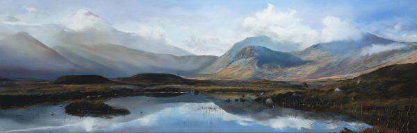 Fiona Haldane_Pastel_Blue Reflection, Rannoch Moor_image size 16x48