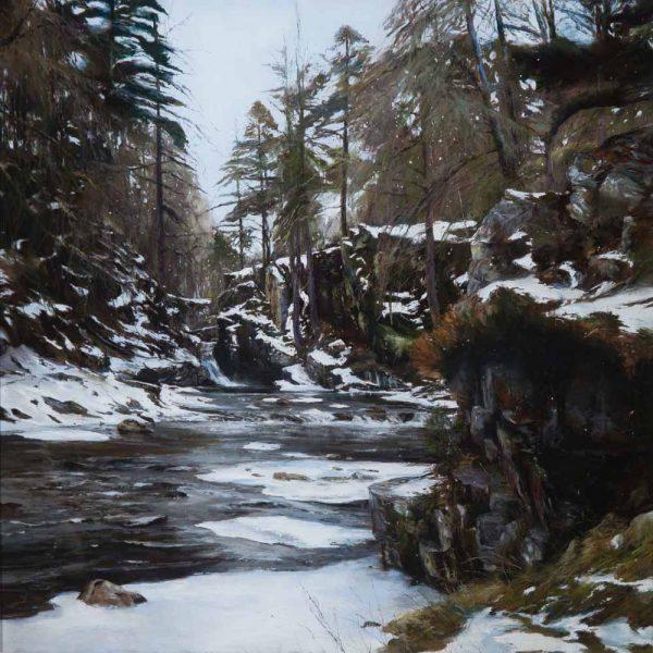 Fiona Haldane_Pastel_Snow Forest The Quoich, Braemar_image 36x36_framed 45x45 WEB(2)