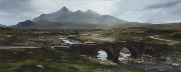 Fiona Haldane_Pastel_The Crossing, Sligachan, Skye_image size 16x39