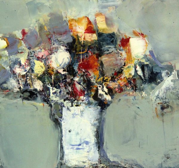 Lil Neilson_Original_Oils_Flowers (White Vase)_10.25 x 11.25