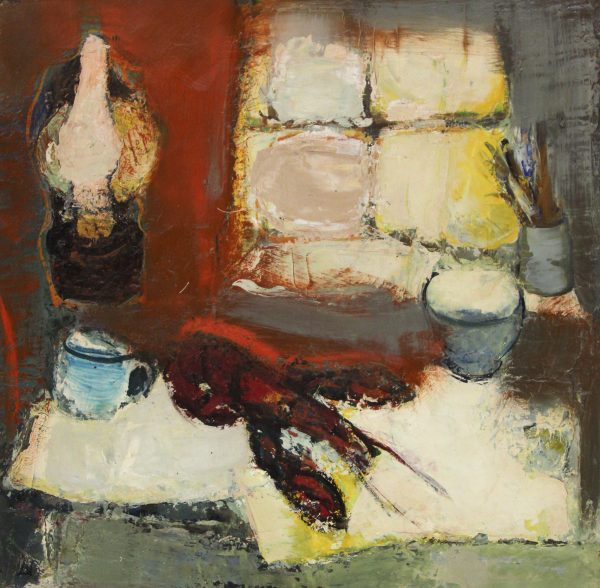 Lil Neilson_Original_Oils_Lamp and Lobster_18.25 x 18.75