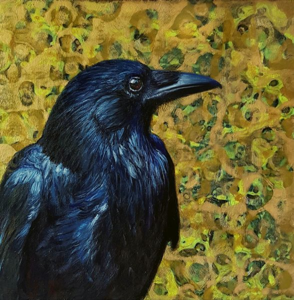 Alanda Calmus_Huginn (Thought)_Oil & Acrylic_8x8