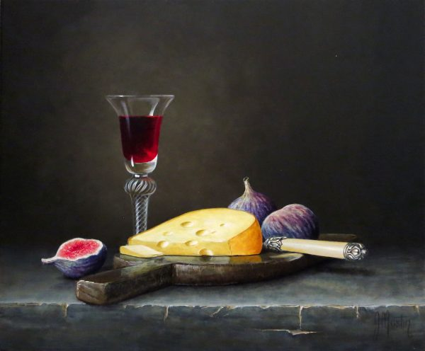 Ian Mastin_Acrylics_Cheese, Wine & Figs_10x12