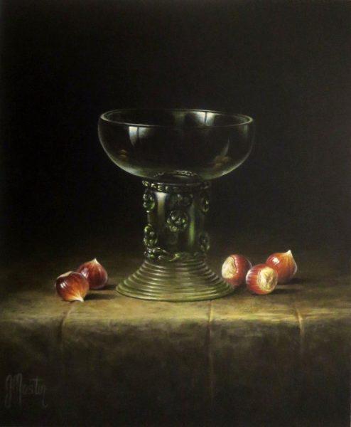 Ian Mastin_Acrylics_Roemer Bowl with Hazelnuts_12x10