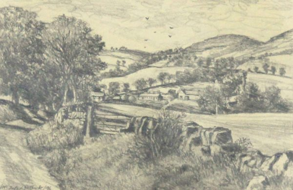 James McIntosh Patrick OBS RSA_Road to Lundie_Pencil drawing_6.25x9.5