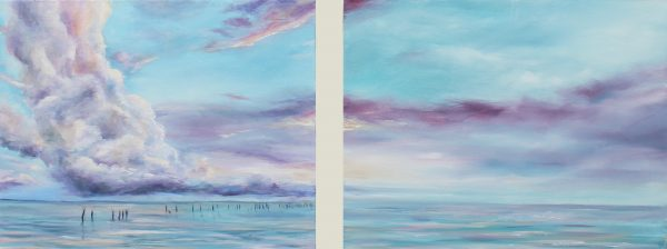Kate Cunningham_Original_Oils_Purple Skies_Diptych_11x14 each_£350 for the pair