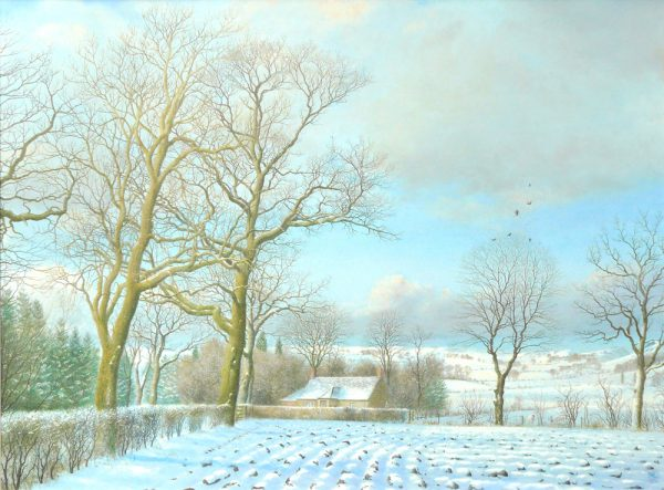 Alister Lindsay_Snow on the Strath_Oil_18.75x14_Framed 21x26.5