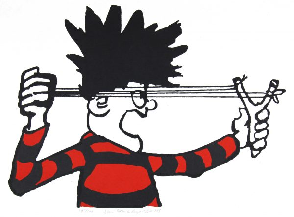 Dennis the Menace Fires his Catapult_Large_Unframed_30x22