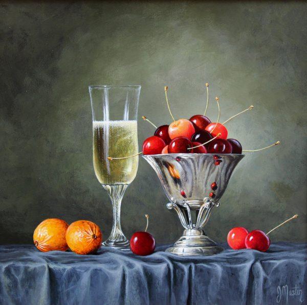 Ian Mastin_Champagne with Cherries_Acrylics_12x12