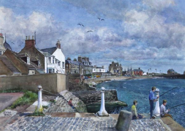 James McIntosh Patrick_Fishing by the Old Pilot Pier, Broughty Ferry 1985_Watercolour_35x42