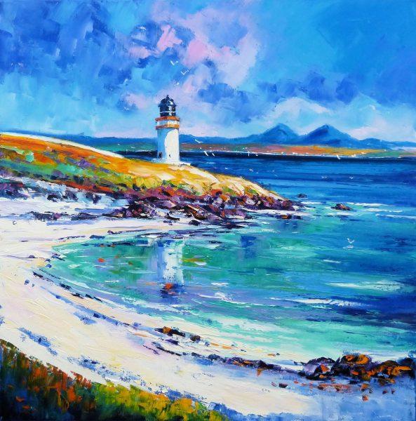 Jean Feeney_Sunlit Lighthouse, Loch Indaal, Islay_Oil_24x24